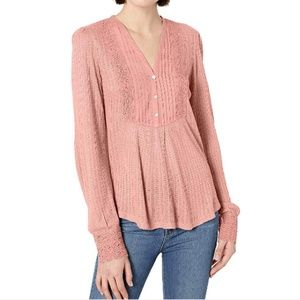 Lucky Brand Top Pink Henley Lace Pullover Tee Boho